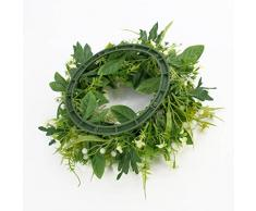 Decorativa corona primaveral con ranúnculos, margaritas, crema, Ø 25 cm - Composición floral / Guirnalda artificial - artplants