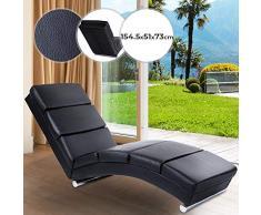 NOVA - Tumbona de Piel Artificial con Cojines Acolchados y Bases cilíndricas de Acero Cromado, 154 x 51 x 73 cm, Color Negro