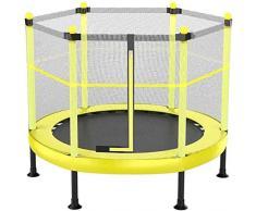 Fitness Trampolines de Gimnasio para Interiores Trampolín con Caja de Seguridad Trampolín de Acero galvanizado para niños pequeños para trampolín de jardín al Aire Libre (Color: Amarillo Tamaño: 60