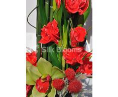 Artificial moderna Gladiolos rojos, cardo y arreglo Floral de la orquídea Cymbidium