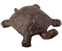 Esschert Design - Escultura de tortuga para jardín (acero fundido), color marrón