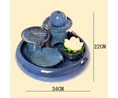 Liu Yu·espacio creativo,Azul creativo casa de cerámica Lucky fuente agua humidificador feng shui pescado redonda