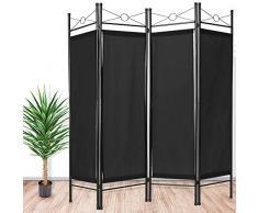 TecTake Biombos diseño 4-panel tela divisor habitación separador separación biombo 180x160cm negro