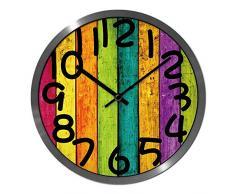 WSR Reloj de Pared Exacto de Bell-Metal - 12 Pulgadas / 14 Pulgadas Sala de Estar Relojes creativos Reloj de jardín Chino de Moda Reloj de Cuarzo silencioso - 1 batería X AA (no incluida),12 pulg