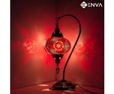 Lámpara de mesa de mosaico turco, impresionante estilo marroquí, lámpara de globo único, serie cuello de cisne (estrella rosa)