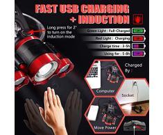 AUKELLY LED Linternas Frontals USB Recargable Alta Potencia USB Linternas Frontals,LED Linterna Frontales 4 Modos,XML-T6 Linterna Frontal 1000 Lumen,Linternas Frontal para Camping,con 18650 Baterías