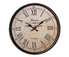 XIPI Reloj de Pared Vintage 30 cm Arte de Madera Números Romanos Redondos Grandes Home Garden Retro Rústico Decorativo-marrón