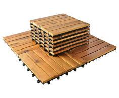 MALATEC 5100 - Juego de 10 baldosas de Madera para terraza, 30 x 30 cm, baldosas de balcón, baldosas de Clic, Suelo