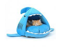 Yihya Adorable Tiburón Forma Suave Calentar Interior Mascota Puppy Cueva Felpa Perros Casa Choza Cachorro Gato Gatito Gato Cama Basket con Desmontable Nido Pad Mat - Azul / Tamaño Pequeña: 42*40cm