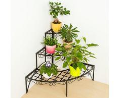 TecTake Estantes esquinesros para plantas escalera metálica macetas flores 3 niveles - ca. 60x60x60cm - carga máxima: aprox. 30 kg