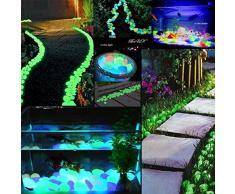 200pcs jardín, brilla en la oscuridad Pebbles piedra luminoso colorido de adoquín para Walkway Acuario Tanques de peces