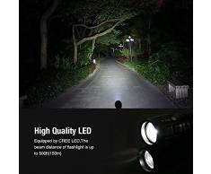 LE Linterna LED CREE Zoomable, Foco ajustable, Linterna de Mano Resistencia al agua, Linternas Antorcha Pilas AAA Incluidas Portátil Durable Robusto para Ciclismo Camping Montañismo