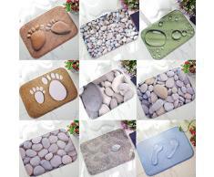 3d impresión de adoquín antideslizante puerta piso alfombrillas alfombra Doormats baño decoración del hogar, Franela, 3#, talla única