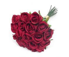 Anjing - 1 Ramo de 18 Rosas Artificiales Rosas para decoración de Tartas de Boda, Cuencos de Peces, Funciones de hogar