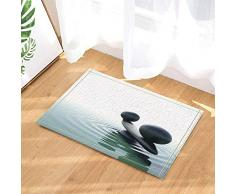 ZHOU Decorativo adoquín Negro Sube y Baja Agua Rizo Yoga Alfombras Piso Antideslizante Entradas para niños Alfombrilla para Puerta Exterior Interior Accesorios de baño 60x40cm