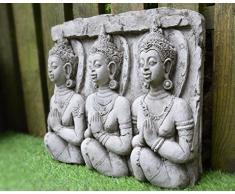 Placa de pared de piedra con escultura de 3 budas