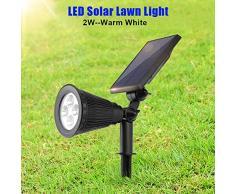 FTVOGUE 4 LED Proyector Solar Al Aire Libre Energía Solar Césped Luz Jardín Patio Patio Proyector Paisaje Lámpara Panel Solar(Blanc Chaud 2w)