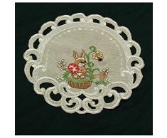 Camino de mesa (imita el lino, con bordados, varios tamaños), diseño de conejos de Pascua, color beige , poliéster, Rund 20 cm