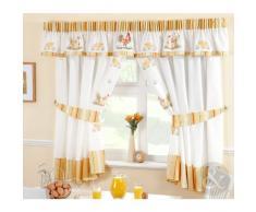Just Contempo - Juego de cortinas de cocina (pliegue de lápiz) diseño de gallo, color amarillo, verde y blanco, poliéster, amarillo, verde, blanco, 2 cortinas 168 x 137 cm