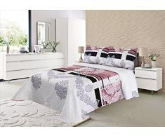 ForenTex - Colcha Boutí, (S-2689), Reversible, color Rosa, cama 90 cm, 180 x 260 cm, +1 funda cojín 50 x 70 cm, Termo Estampada, 220 gr/m2 (relleno ligero 80gr/m2), barata, excepcional relación calidad precio. Por cada 2 colchas