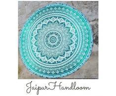 Jaipur Handloom - Tapiz redondo de algodón, diseño de mandala, para uso como toalla de playa, mantel o alfombrilla de yoga, 180 cm