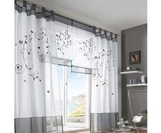 simpvale Pastoral bordado ventana cortina para sala de estar y dormitorio, Gris, 140cm*145cm