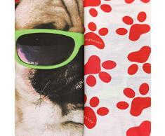 Gafas de sol de perro de raza CARLINO con funda para edredón para cama Cool - Juego de cama Reversible de huellas