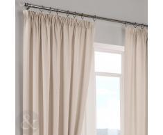 "Just Contempo Herringbone Curtains - Cortinas lisas, poliéster, crema, Curtain Pair 46"" x 72"" ( ready made )"