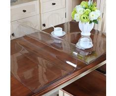 MAGILONA Home - Mantel protector de PVC impermeable para mesa, mesa de escritorio, rectangular, tamaño personalizado, Lino, Transparente, 23.5x39 Inch(60x100cm)