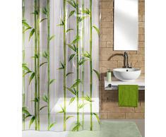Kleine Wolke 5249625305 Bambú - Cortina de ducha (180 x 200 cm), diseño de bambú, color verde mayo