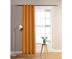 Cortinas Opacas y ocultantes, 140 x 260 cm, 100% poliéster, naranja, Rideaux occultant orange 140 x 260 cm