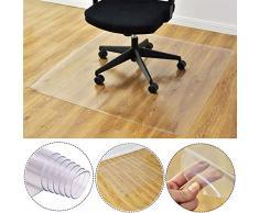 Tapete de silla para suelos de alfombra, transparente, antideslizante, rectangular, para el hogar, oficina, silla rodante, Transparente, 50x90cm