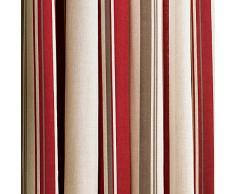 Broadway Frambuesa y Crema diseño a Rayas con Ojales Cortinas 66x 90de caída, Color, Totalmente Forrado, con Ojales, Listas para Colgar, Color Rojo