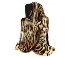 Just Contempo - Manta para sofá y cama, piel de imitación de visón, piel sintética, tigre (beige, marrón, dorado), cama individual