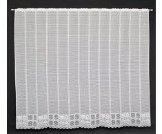 Cortina de media altura con flores altura 180 cm | Ancho de la cortina seleccionable por la cantidad comprada en pasos de 15 cm | Color: blanco | Cortinas cocina
