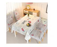 NingVong Fashion Life Home Cubierta de Silla Mesa de Comedor Cubierta de Silla, Tela de algodón y Lino Mesa de café, Mantel y Conjunto de Cubierta de Silla@A6_140 * 210 cm (con 4 Fundas de Asiento)