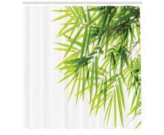 ABAKUHAUS Bambú Cortina de Baño, Hoja de Bambú Ilustración Ícono de Bienestar Salud Frescura Pureza Calma Estampa, Estampa Digital Colores Duraderos Material Lavable Antimoho, 175 x 180 cm, Blanco