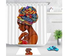 COMPY Cortinas con Ganchos Afroamericanas Afro Black Women Art Cortina de Ducha Alfombra de baño Bañera Accesorios de baño Baño Moderno, Cortina y tapete, 40cmx60cm