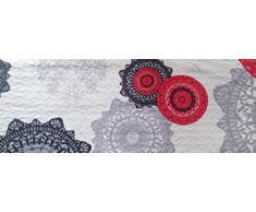 ForenTex- Colcha bouti reversible, (M-2633), cama 135 cm, 230 y 260 cm, Estampada cosida, Mandalas Rojo y Negro, colcha barata, set de cama, ropa de cama. Por cada 2 colchas o mantas paga solo un envío (o colcha y manta), descuento