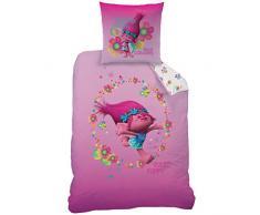 CTI 044108 Trolls True Colors - Juego de ropa de cama, funda nórdica de 140 x 200 cm y funda de almohada de 63 x 63 cm en algodón rosa