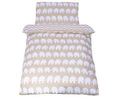 Sevira Kids - Juego de cama infantil reversible de 2 piezas (100% algodón ecológico), diseño de elefantes y zigzag beige beige Talla:100 x 135