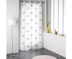 Douceur d Interieur 140 x 240 cm), diseño de rayas, Cortina de voile, papilu de plástico), color gris gris