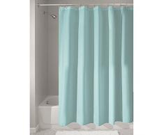 iDesign Cortinas de baño de tela, cortina impermeable de poliéster con tamaño de 180,0 cm x 200,0 cm, cortina de ducha lavable con borde reforzado, azul turquesa