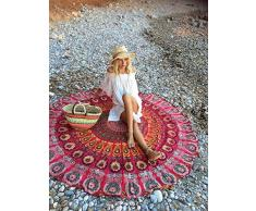 UrbanCharm Indian Meroon - Mantel redondo de algodón, toalla de playa, estampado de plumas de pavo real, estilo hippy bohemio, color rojo