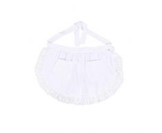 BESTONZON Delantal de cintura de las mujeres con bolsillos de encaje de algodón medio delantal Favores de fiesta de cocina para sirvienta de camarera de limpieza (blanco)