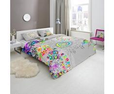 HIP - Funda nórdica y fundas de almohada, 100% algodón/satén flores de edredón, multicolor