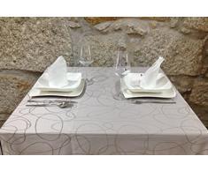 Mantel para mesa de color plateado con tratamiento antimanchas-, Plateado, 6 NAPKINS 18 x 18 (45 x 45cm)