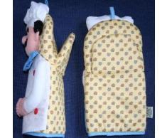 Guantes de horno de amor par Chef - manopla del horno a conjunto delantal amarillo de elefante