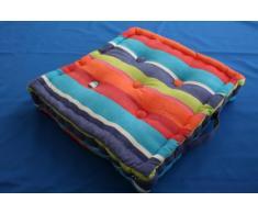 Homescapes Cojín de Suelo 100% Algodón Con Rayas Multicolor 50 x 50 x 10 cm