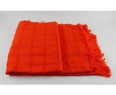 (230 Naranja) ALFARNATE* COLCHA TEJIDA CON FLECOS MULTIUSOS FOULARD CUBRE-CAMAS PLAID LISO para cama o sofá CALIDAD SUPERIOR GARANTIZADA FABRICADO EN ESPAÑA (230_x_260_cm, NARANJA)